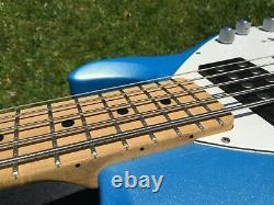 2013 Music Man Stingray 5 HH String Sky Blue Burst Bass Guitar