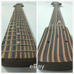 5-String Jazz Bass Guitar DIY Kit, Technical Zebra Wood Body & Neck, No-Soldering