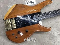 80s Washburn Status 1000 Series Headless Electric Bass Guitar Natural