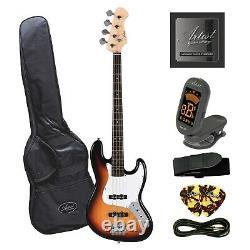 Artist JB2 Sunburst Electric Bass Guitar Plus Accessories
