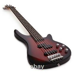 Chicago 5 String Bass Guitar by Gear4music Trans Red