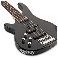 Chicago Left Handed Bass Guitar by Gear4music Black