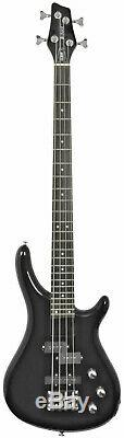 Deluxe Full Size Contemporary Style Electric Bass Guitar Black Gloss Alder Body