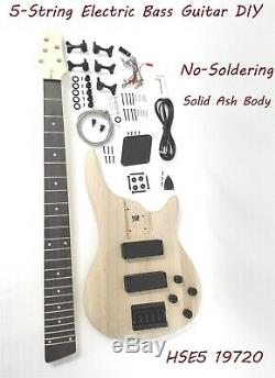 E5 19720 No-Soldering Design 5-String Electric Bass Guitar DIY, HH, Solid Ash Body