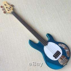 Electric Bass Guitar 4 String Fretless Metallic Blue Basswood Body 864mm Scale