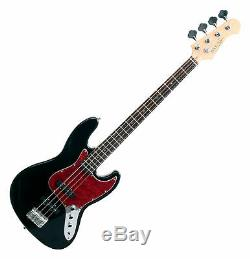 Electric Bass Guitar Vintage 70's Style Jazz JB-Style 4 String Pickup Black Red