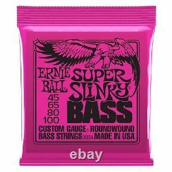 Ernie Ball Super Slinky Nickel Wound Electric Bass Guitar Strings Gauge 45-100