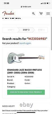 Fender American Standard Jazz Bass Fretless Blue Agave 2002