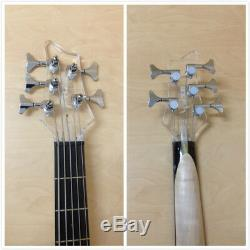 Haze 028P 5-String Transparent Acrylic Electric Bass Guitar withLED Lights +Bag