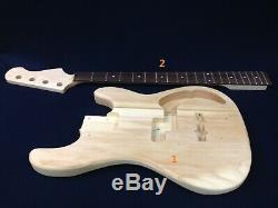 Haze B-303DIY Electric Bass Guitar DIY Kit, No-Soldering+Free Tuner, 3 Picks