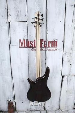 Ibanez SR375EF Fretless 5 String Electric Bass Guitar Brown Burst Finish