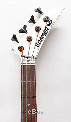 Kramer Ferrington Acoustic Fretless Electric Bass Guitar with Gigbag White