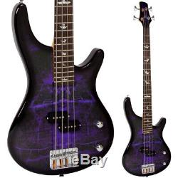 Lindo Purple Dove Electric Bass Guitar P-Bass Pickups & Free Gig Bag and Cable