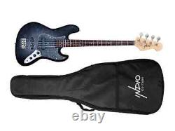 Monoprice Indio Jamm Flamed Maple Electric Bass Charcoal, With Gig Bag