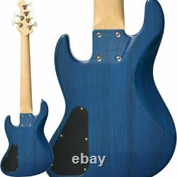 New Bacchus HJB6-STANDARD ASH STB See-through Blue Electric Bass Guitar