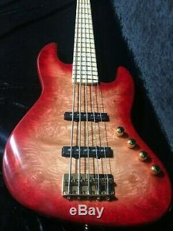 Swing Jazz 5V Red Burst 5 Strings Electric Bass Guitar