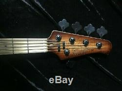 Swing Jazz 5V Tobacco Burst 5 Strings Electric Bass Guitar