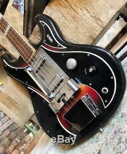 Vintage 1960 WEM Sapphire Sunburst Electric Bass Guitar / Pro Set Up & Hardcase