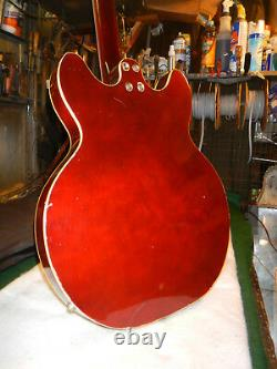 Vintage 1960's Harmony H-27 Bass Guitar 2 DeArmond PU's Hagstrom Neck Custom EX