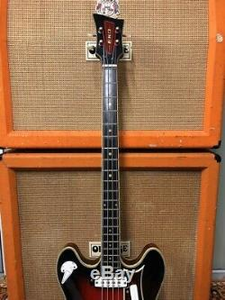Vintage 1960s EKO Barracuda 990 Red Sunburst Electric Bass Guitar Made in Italy