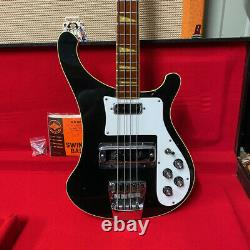 Vintage 1974 Rickenbacker 4001 Jetglo Black Electric Bass Guitar with Hard Case