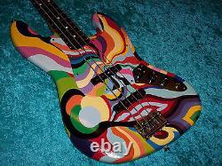 Wild custom painted Jazz bass Fender American standard USA guitar vintage design